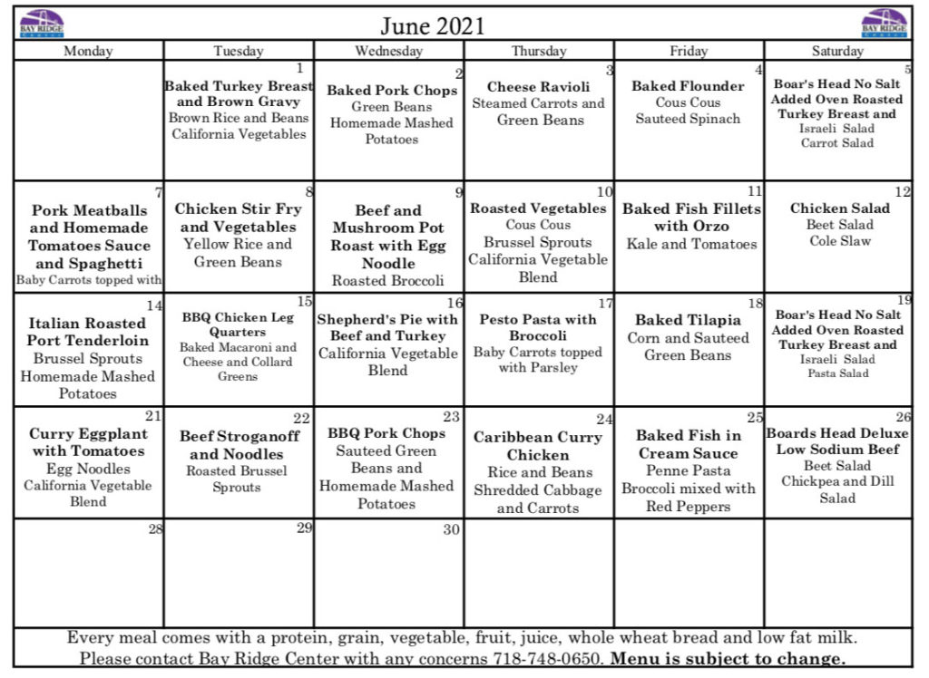 meals on wheels menus from boston ma mow