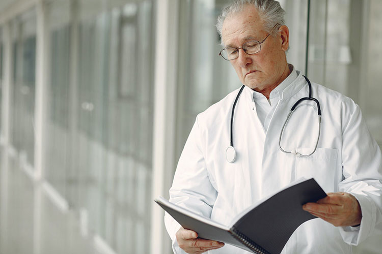 doctor with test results