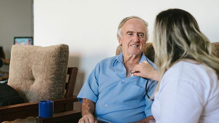 elder man getting in-home care