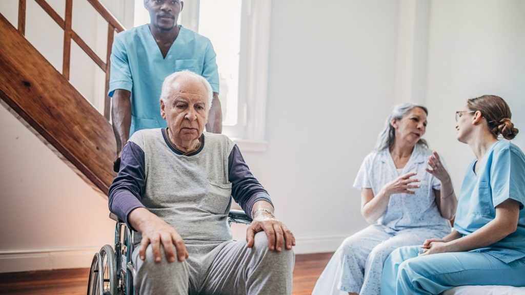 senior couple in old folks home